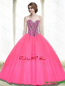 2015 Pretty Ball Gown Beading Sweetheart Hot Pink Quinceanera Dresses