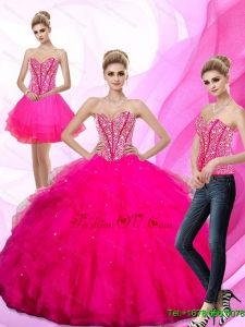 2015 Unique Beading and Ruffles Sweetheart Quinceanera Dresses