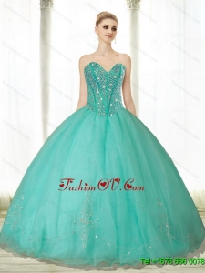Pretty Beading and Appliques Turquoise Sweetheart Quinceanera Dresses for 2015