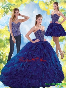 Pretty Beading and Ruffles Sweetheart Ball Gown Quinceanera Dresses for 2015