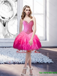 2015 Popular Sweetheart Beading and Ruffles Prom Dresses in Multi Color