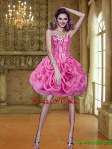 Classical 2015 Short Sweetheart Rolling Flowers Rose Pink Prom Dresses