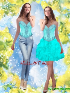 Exclusive 2015 Beading and Ruffles Sweetheart Aqua Blue Prom Dresses