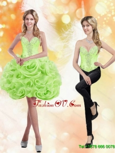 Formal Sweetheart Short Rolling Flowers 2015 Spring Green Prom Dresses