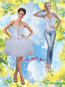 Popular Beading and Ruffles Sweetheart Prom Dresses in White for 2015