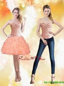 Wonderful Sweetheart Short Peach 2015 Prom Dresses with Beading and Pick Ups