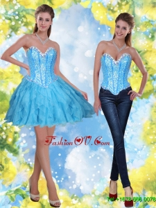 2015 Elegant Short Beading and Ruffles Baby Blue Prom Dresses