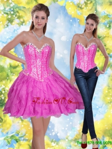 2015 Exclusive Short Beading and Ruffles Fuchsia Prom Dresses