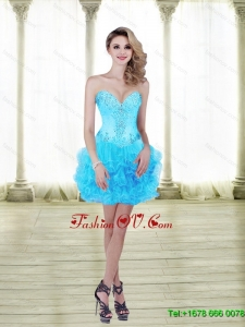 2015 Sweet Beading and Ruffles Baby Blue Prom Dresses with Sweetheart