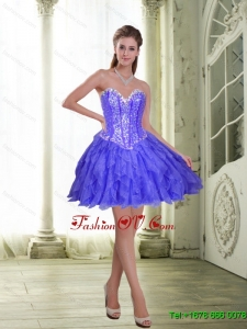 Beautiful Beading and Ruffles Short Lavender 2015 Prom Dresses