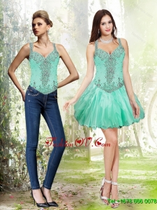 Detachable Beading and Ruffles Apple Green 2015 Prom Dresses