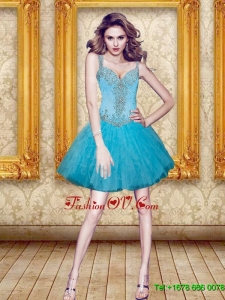 Excellent Beading and Ruffles Prom Dresses in Aqua Blue