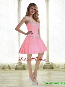 Exquisite Beading Prom Dresses in Baby Pink for 2015