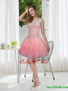 Exquisite Beading and Ruffles Watermelon Prom Dresses for 2015