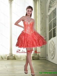 Exquisite Short Beading and Ruffles Coral Red Prom Dresses for 2015