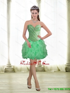 2015 Elegant Apple Green Prom Dresses with Beading and Ruffles