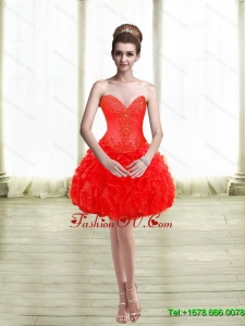 2015 Elegant Appliques and Ruffles Red Prom Dresses