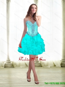 2015 Elegant Beading and Ruffles Aqua Blue Prom Dresses with Sweetheart