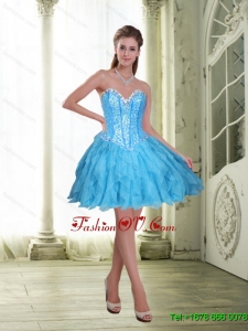 2015 Elegant Beading and Ruffles Short Prom Dresses in Baby Blue