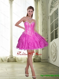 2015 Elegant Beading and Ruffles Short Prom Dresses in Fuchsia