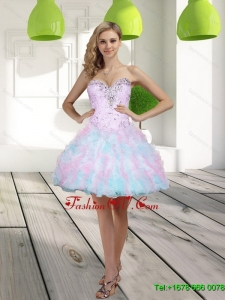 2015 Elegant Beading and Ruffles Sweetheart Multi Color Prom Dresses