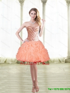 2015 Elegant Short Peach Prom Dresses with Beading and Pick Ups