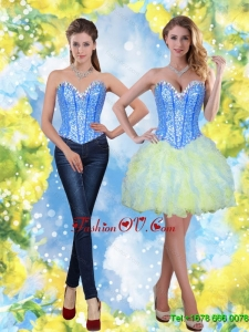 2015 Elegant Short Sweetheart Beading and Ruffles Prom Dresses