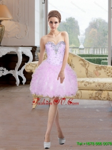 2015 Elegant Short Sweetheart Prom Dress with Beading and Ruffles