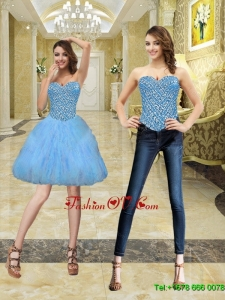 2015 Elegant Sweetheart Beading and Ruffles Prom Dresses
