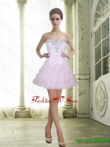 2015 Elegant Sweetheart Beading and Ruffles White Prom Dresses