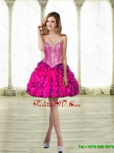 2015 Elegant Sweetheart Multi Color Prom Dresses with Beading and Ruffles