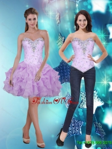2015 Elegant Sweetheart Short Prom Dresses with Beading and Ruffles