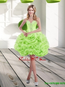 2015 Elegant Sweetheart Short Rolling Flowers Prom Dresses in Spring Green