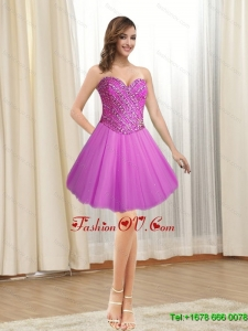 Elegant 2015 Short Tulle Sweetheart Fuchsia Prom Dresses with Beading