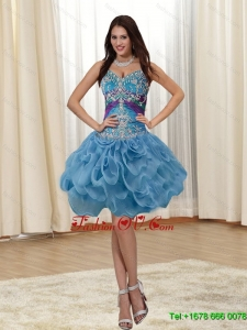 Elegant Appliques and Rolling Flowers Straps Multi Color 2015 Prom Dresses