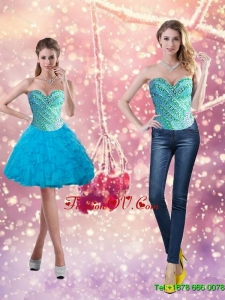 Elegant Beading and Ruffles 2015 Short Prom Dresses in Baby Blue