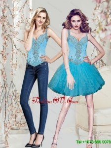 Elegant Beading and Ruffles Aqua Blue Prom Dresses