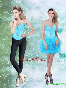 Elegant Beading and Ruffles Baby Blue 2015 Prom Dresses with Sweetheart