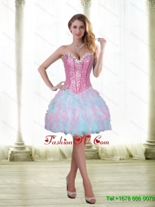 Elegant Beading and Ruffles Short 2015 Prom Dresses with Sweetheart
