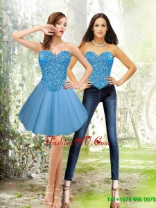 Elegant Short 2015 Sweetheart Tulle Blue Prom Dresses with Beading