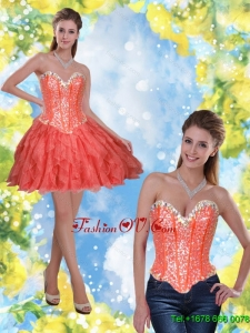 Elegant Short Beading and Ruffles Coral Red 2015 Prom Dresses