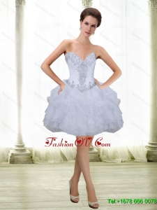 Elegant Short Beading and Ruffles White 2015 Prom Dresses with Sweetheart