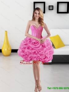 Elegant Sweetheart Short Rolling Flowers Rose Pink Prom Dresses for 2015