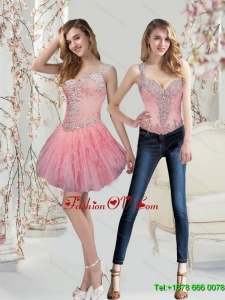 Elegant Watermelon Prom Dresses with Beading and Ruffles for 2015