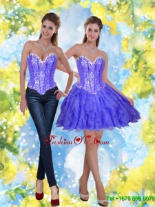 Perfect Short Beading and Ruffles Lavender Prom Dress for 2015