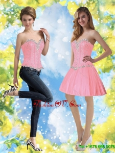 Elegant Baby Pink Prom Dresses with Beading for 2015