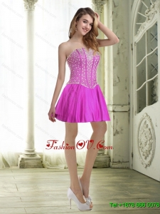 Elegant Beading and Ruffles Fuchsia Prom Dresses for 2015