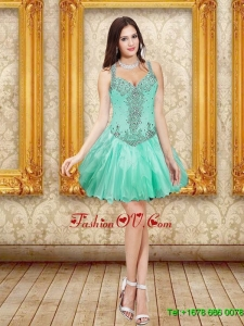 Elegant Beading and Ruffles Prom Dresses in Apple Green for 2015