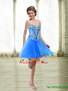 Elegant Short Embroidery Royal Blue Prom Dresses for 2015