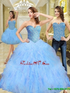 2015 Beautiful Beading and Ruffles Sweetheart Quinceanera Dresses in Multi Color
